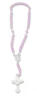 Rosenkranz für Kinder Baby Rosenkranz rosa Perlen 15 cm Mädchen Taufschmuck