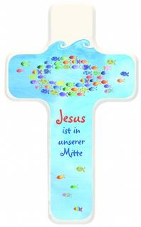 Kreuz für Kinder Jesus ist in unserer Mitte Holz-Kreuz Kruzifix Geschenkbox