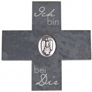 Wandkreuz Schiefer Ich bin bei Kreuz 12 cm Münze versilbert Kruzifix Christlich