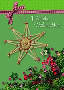 Weihnachtskarte mit Strohstern Fröhliche Weihnachten (5 Stck) Kuvert