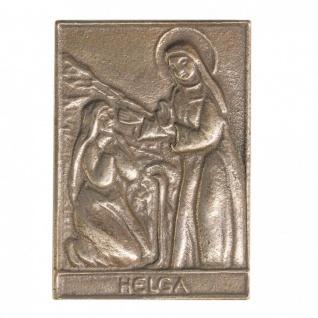 Namenstag Helga 8 x 6 cm Bronzeplakette Bronzerelief Wandbild Schutzpatron