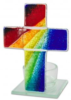Teelichthalter Kreuz zur Meditation Regenbogen Glas 11 cm Stehkreuz für Kerze