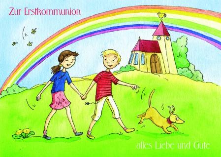 Kommunionkarte Zur Erstkommunion alles Liebe (6 St) Glückwunschkarte Grußkarte