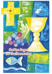 Glückwunschkarte Gottes Segen zur Kommunion (6 St) Kelch Kreuz Trauben und Fische