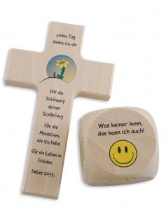 Kinderkreuz Blume Gebetswürfel Geschenk-Set Kommunion 15 cm Holzkreuz