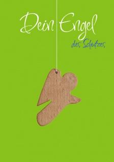 Doppelkarte Dein Engel des Schutzes (5 Stück) Schutzengel Holz-Anhänger Grußkarte