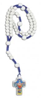 Kinder-Rosenkranz Perle weiß Kordel blau 29 cm zur Erstkommunion
