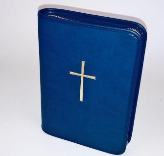 Gotteslobhülle Kreuz Gold Großdruck Soft-Nappa Blau Gesangbuch Einband