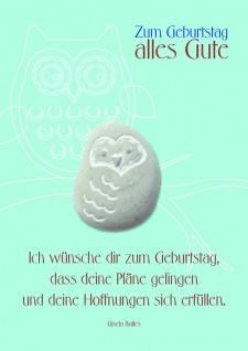 Geburtstagskarte blau mit Stein Zum Geburtstag (3 Stck) Grusskarte Kuvert