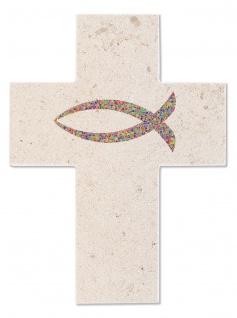 Wandkreuz Naturstein Fisch Ichthys Kreuz 12 cm Erstkommunion Kruzifix Christlich