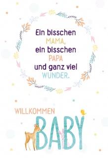 Glückwunschkarte zur Geburt Willkommen BABY (6 Stück) Grußkarte mit Kuvert