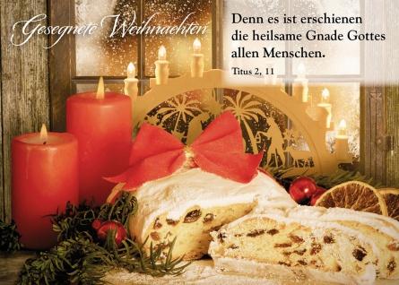 Postkarte Gesegnete Weihnachten (10 Stück) Rote Kerzen Stollen Grußkarte Kuvert