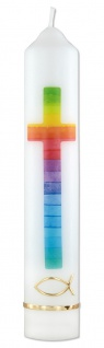 Erstkommunionkerze Fisch Regenbogen Wachsmotiv 26, 5 cm Kerze zur Kommunion