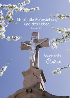 Postkarte Gesegnete Ostern (10 St) Blütenzweige und Kreuz Johannes Lutherbibel
