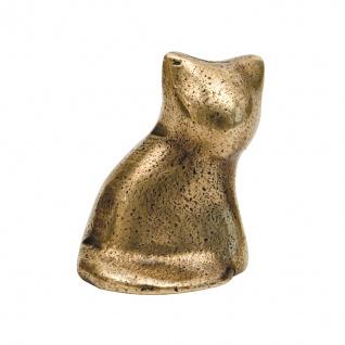Katze sitzend Bronzeskulptur 6 cm Tierfigur aus Bronze Statue Skulptur