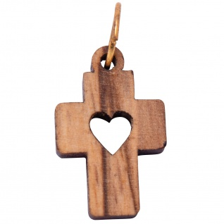 Schmuck Kreuz Anhänger HERZ 2 cm Kruzifix Olivenholz Bethlehem Holzkreuz