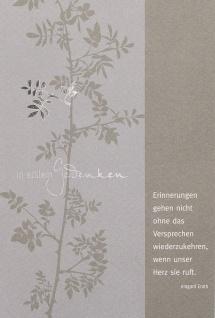 Trauerkarte In stillem Gedenken Blätter (6 Stck) Beileidskarte Kondolenzkarte