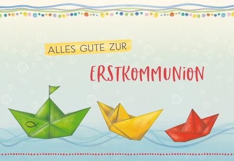 Glückwunschkarte Bunte Papierboote Alles Gute zur Erstkommunion (6 Stück) Kuvert