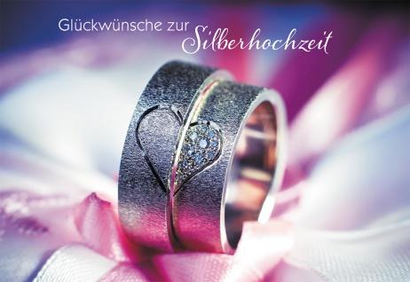 Hochzeitskarte Glückwünsche zur Silberhochzeit (6 Stck) Glückwunschkarte Kuvert