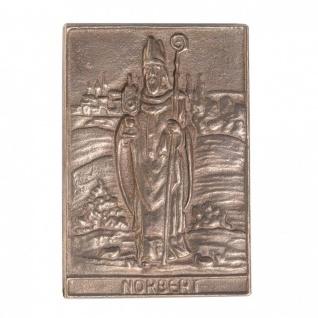 Namenstag Norbert 8 x 6 cm Bronzeplakette Bronzerelief Wandbild Schutzpatron