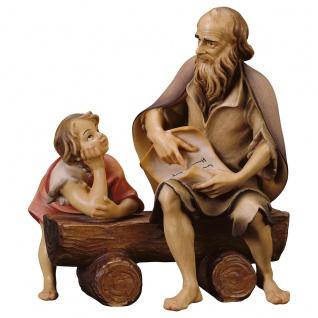 Frohe Botschaft 3 Teile Holzfigur geschnitzt Südtirol Krippenfigur Ulrich Krippe