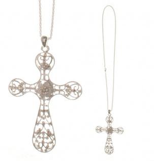 Kreuz-Anhänger filigran Glassteine Kette 35 cm Christliches Schmuck Kreuz