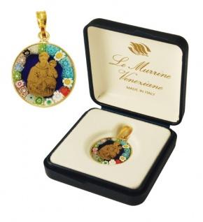 Heiliger Antonius echtes Murano Glas Anhänger vergoldetes Silber gefasst