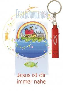 Glückwunschkarte Regenbogen und Arche Noah (5 St) mit roter Taschenlampe S. Sigg
