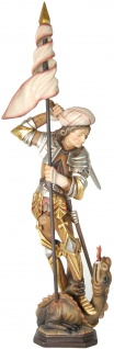 Heiliger Georg stehend Holzfigur geschnitzt Südtirol Schutzpatron