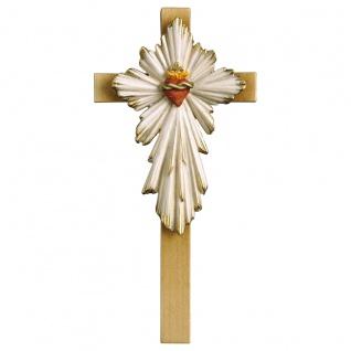 Kreuz Herz Jesu Holzkreuz geschnitzt Südtirol Kruzifix Wandkreuz