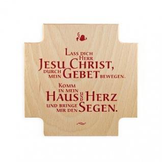 Haussegen aus Holz Jesus-Text 12 x 12 cm