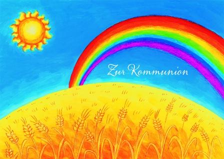 Kommunionkarte Regenbogen Zur Kommunion (6 Stck) Glückwunschkarte Grußkarte