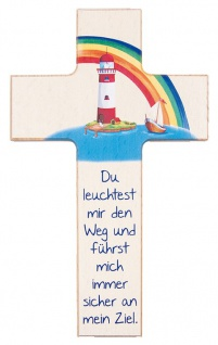 Kinderkreuz Leuchtturm Buchenholz 15 cm 20 cm Wandkreuz Du leuchtest mir den Weg