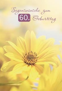 Glückwunschkarte Segenswünsche zum 60. Geburtstag (6 St) Gelbe Blume Psalm