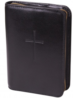 Gotteslobhülle Kreuz geprägt Rindleder Schwarz Gesangbuch Einband Katholisch