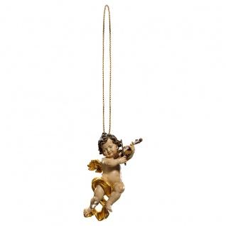Putte mit Geige und Goldfaden Holzfigur geschnitzt Südtirol Puttenfigur