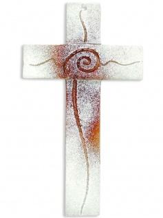 Kreuz aus Glas Spirale braun weiss Fusing Glas Handarbeit 20 cm Wandkreuz Unikat