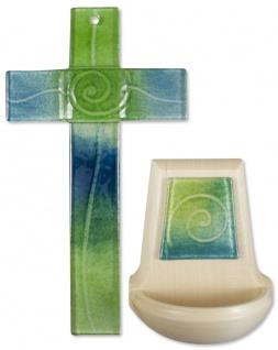 Glaskreuz Weihwasserkessel Set Spirale Glas Holz grün türkis Kreuz Weihbecken