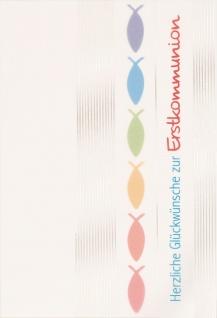 Glückwunschkarte Herzliche Glückwünsche zur Erstkommunion (6 St) Fische Kuvert