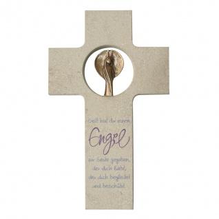 Wandkreuz Schutzengel Jurastein Bronze Engel Kreuz 18 cm Kruzifix Christlich