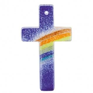 Kreuz aus Glas blau Regenbogen Fusing Glas Kreuz Handarbeit 11 cm Wandkreuz