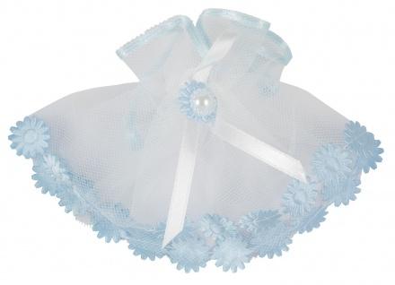 Kerzenmanschette Tüll Blau Weiß 11 cm Tropfschutz für Taufkerzen Buben