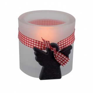 Glaswindlicht Schiefer-Engel inkl. Teelicht Kerzenhalter Glas für Windlicht