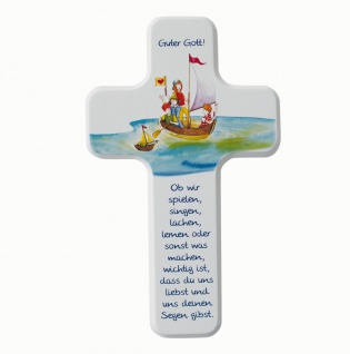Kinderkreuz Spielen Singen Lachen Holzkreuz massiv 18 cm Wandkreuz Holz Kreuz