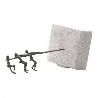 Bronzefigur An einem Strang ziehen 33 cm Bronze Skulptur Dekofigur