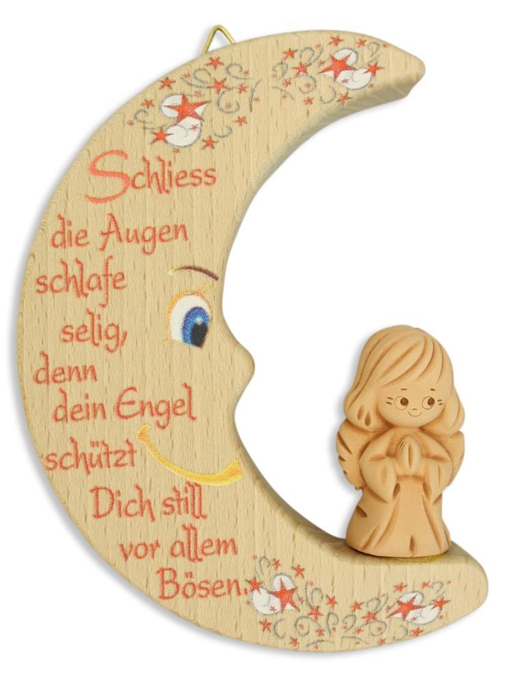 Mond Ton Schutzengel Holz 12 cm Kinderzimmer Gute-Nacht Gebet