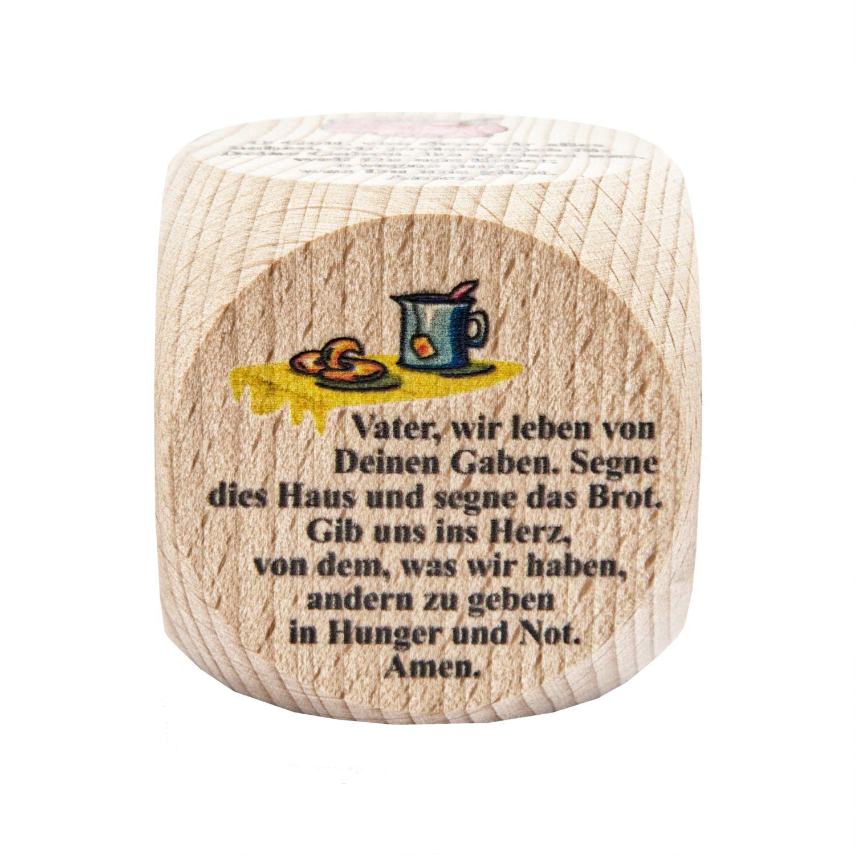 Gebetswürfel 6 Tischgebete für Kinder und die ganze Familie Holz