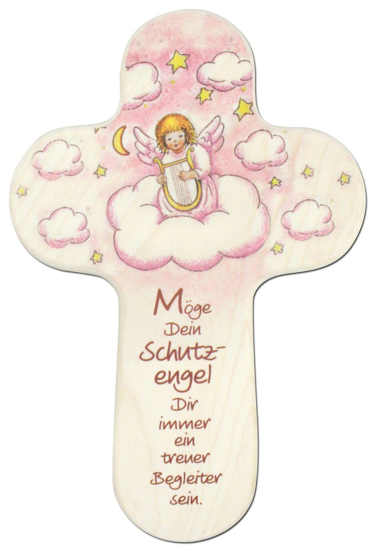 Kreuz für Kinder Dein Schutzengel 15 cm Kruzifix Holz-Kreuz Kinderkreuz