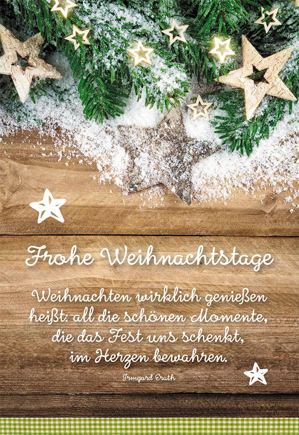 Weihnachtskarte Frohe Weihnachtstage (6 Stck) Tannenzweige Sterne ...