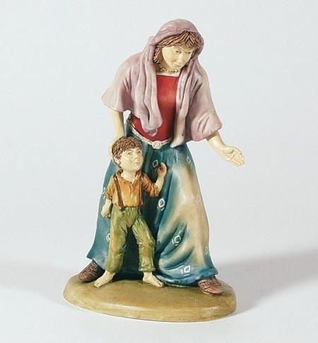 Krippenfigur Hirtin mit Junge Bergische-Krippe Krippen Figur Weihnachten